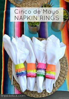 Such a fun way to add a ton of color to your Cinco de Mayo table!  Click through for the easy tutorial for these Piñata Inspired Napkin Rings!