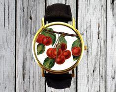 Vintage Cherry Fruit Watch  Leather Watch  Ladies by RedJuanShop