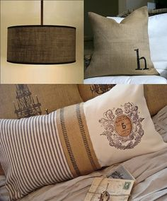 Burlap and ticking accents