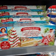 Little Debbie Christmas in July Christmas Tree Cakes. Christmas In July, Christmas Tree, Little Debbie Snack Cakes, Fast Food Reviews, Impulsive Buy, Tree Cakes, Happy Thoughts, Junk Food, Dessert Ideas
