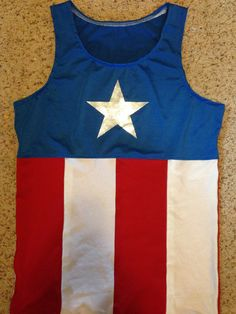 Men or women's captain America inspired tank top by This Princess Runs.   Www.etsy.com/shop/thisprincessruns  Perfect for the upcoming avengers weekend!