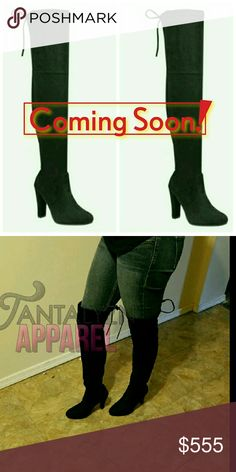 """OVER THE KNEE BOOTS Restocking!! Like this listing and comment desired size to be notified. Limited Sizes -Fits true to size -soft faux suede -back tie lace on top -4"""" heel,23"""" shaft, 14.5"""" circumference  -cushioned footbed  -minimal stretch All Ladies who ordered before were happy with these boots. Ask for a custom bundle with other items n Save! Shoes Over the Knee Boots"""