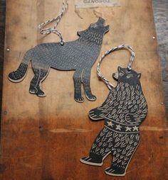 Bear vs Wolf die cut gift tags, decorations, bookmarks. These are versitile ferocious beasts. Hand-printed letterpress from hand-carved lino blocks.