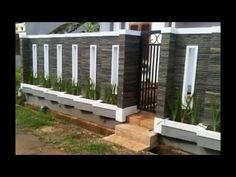 40 Minimalist Wall Fence Models - Speaking of building a house, there are many things that we must pay attention . House Wall Design, Front Wall Design, House Fence Design, Exterior Wall Design, Modern Fence Design, Door Gate Design, Compound Wall Gate Design, Decoration Facade, Boundry Wall