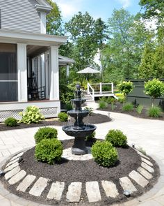 Amazing backyard landscaping makeover that includes a Trex deck, a paver patio with gas firepit, and a paver patio with a fountain and benches. So much outdoor inspiration! Front Yard Decor, Small Front Yard Landscaping, Backyard Landscaping, Landscaping Ideas, Backyard Ideas, Modern Landscaping, Pool Ideas, Backyard Water Feature, Garden Fountains
