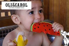 Anneau de dentition fruits et légumes par Oli&Carol Natural Rubber, Showroom, Toys, Baby, Baby Teething, Fruits And Veggies, Activity Toys, Toy, Infants