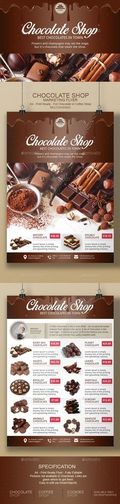 Chocolate Flyer Template — Photoshop PSD #coffee #shop • Available here → https://graphicriver.net/item/chocolate-flyer-template/9731716?ref=pxcr