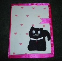 Altered Journal, Cat, Pink Hearts, handmade, Made in America