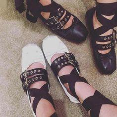 NEW-Womens-Lace-Up-Buckle-Ankle-Strap-Bowknot-Leisure-Shoes-Dance-Ballet-Pumps
