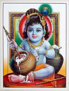 Makhan Chor Krishna (Reprint on Paper - Unframed) Hare Krishna, Shri Hanuman, Lord Krishna Images, Radha Krishna Pictures, Radha Krishna Photo, Radha Krishna Love, Krishna Leela, Hanuman Photos, Hanuman Images
