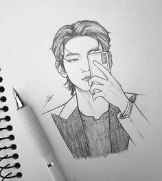 Kpop Drawings, Pencil Art Drawings, Drawing Sketches, Taehyung Fanart, Bts Taehyung, Bts Concept Photo, Album Bts, Bts Chibi, Art Reference Poses
