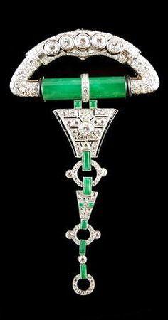 Art Deco Diamond and Jade Brooch.