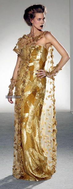 ~ Living a Beautiful Life ~ Georges Chakra Fall Winter Haute Couture Georges Chakra, Couture Mode, Style Couture, Couture Fashion, Net Fashion, Gold Prom Dresses, Ball Gown Dresses, Party Dresses, Dress Party