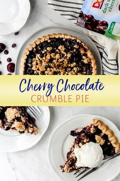 Cherry Chocolate Crumble Pie is an easy, delicious dessert. Made with Dole frozen Dark Sweet Cherries and semisweet chocolate chips, this homemade creation can be ready for the oven in just 15 minutes! Fun Desserts, Delicious Desserts, Dessert Recipes, Chocolate Cherry, Chocolate Chips, Pasty Pastry, Pie Recipes, Cooking Recipes, Pie Crumble