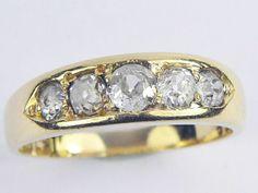 WONDERFUL ANTIQUE VICTORIAN ENGLISH 18K GOLD 5-STONE 1ct OLD CUT DIAMOND RING