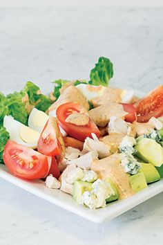 The classic Cobb salad just turned up the heat! Healthy Salad Recipes, Healthy Chicken Recipes, Clean Recipes, Seafood Recipes, Epicure Recipes, Honey Mustard Salmon, Lean Meals, Cooking On A Budget, Seafood Restaurant