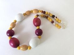 Plum Mustard and White Chunky Bead Necklace
