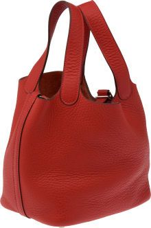 Hermes Vermillion Red Clemence Leather Picotin PM Bag.