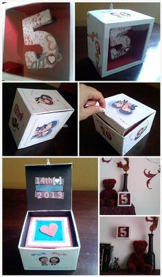 Idea para una tarjeta de aniversario! Una caja con el numero de tu aniversario adentro, forrada de fotos o imágenes especiales con un escondite atrás para poder escribirle algo. Se puede colgar en la pared o ponerla en una superficie.  by Waleska Medina