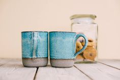 Ceramic mugs set, SET OF TWO, Unique blue turquoise mug, Rustic cup, Coffee lovers gift, Pottery mug set, Ceramic tea cup, Christmas gift by SaritCeramics on Etsy https://www.etsy.com/listing/522235624/ceramic-mugs-set-set-of-two-unique-blue