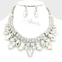Products · Clear Utopian Glass Petal Necklace Set · Ashas Jewelrybox's Store Admin