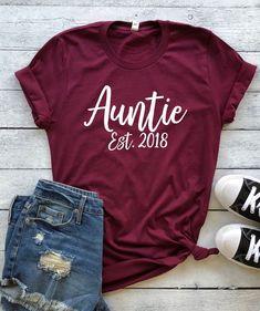 Auntie Est 2018 Shirt (Unisex crewneck), aunt shirt, gift for auntie, gift for aunt, surprise aunt with pregnancy, ways to announce pregnancy, pregnancy announcement, baby announcement, auntie to be, aunt to be shirt, auntie shirt