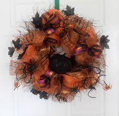 Halloween Pumpkin Wreath, Deco mesh Halloween Wreath, Spiders, Black and Orange…