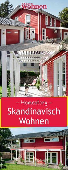 Schwedisch wohnen: ein offenes, einladendes Holzhaus in typischem Schwedenrot.
