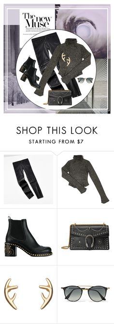 """""""Love Black"""" by style-stories ❤ liked on Polyvore featuring Tommy Hilfiger, Balenciaga, Miu Miu, Gucci and Ray-Ban"""