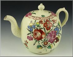 Enamel Painted Creamware Teapot