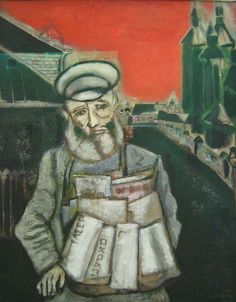 Marc Chagall: Le Marchand de Journaux , 1914 - #MarcChagall learn more on http://www.johanpersyn.com/category/humanity/art/marc-chagall/