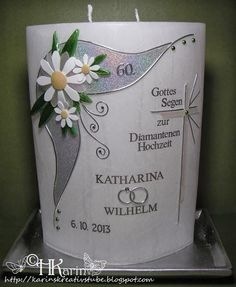 "Karins Kreativstube Kerze Goldene Hochzeit ""Elfriede & Franz"