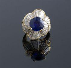 Round Blue Sapphire and Diamond Ring