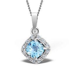 Blue Topaz 8mm And Diamond 9K White Gold Pendant - Item G4022. #thediamondstoreuk #bluetopazpendant #pendant #bluetopaz #jewellery