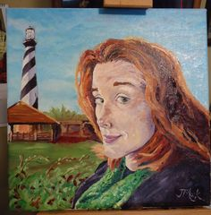 """""""But romantic things happen at lighthouses"""" Oil painting of my wife taken from a photograph the weekend I proposed at Cape Hatteras Lighthouse."""