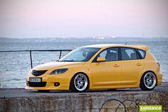 Lotus Saffron Yellow Hatchback with Enkei wheels Mazda Mps, Mazda 3 Hatchback, Super Pictures, Yellow Car, Honda Civic Si, Mitsubishi Lancer Evolution, Tuner Cars, Japan Cars, Nissan 350z