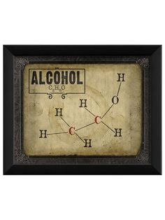 Alcohol Molecule Framed Artwork - contemporary - Prints And Posters - The Artwork Factory Man Cave Art, Man Cave Home Bar, Men Cave, Framed Artwork, Framed Prints, Wall Art, Wall Decor, Framed Wall, Hanging Posters