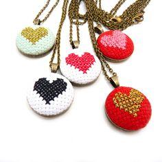 Custom Heart Cross Stitch Necklace from Zelma Rose for $50.00 Rose Jewelry, Diy Jewelry, Jewelery, Unique Jewelry, Jewellery Box, Jewelry Making, Cross Stitch Heart, Textile Jewelry, Making Ideas