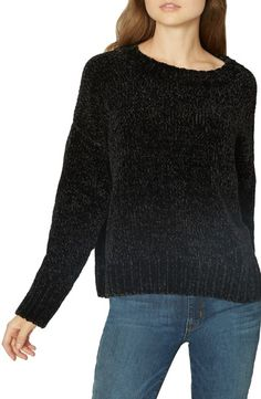 Chase away the chill with this drop-shoulder pullover that feels delightfully cozy in a plush chenille knit with thick ribbed trim. Holiday Outfits, Fall Outfits, Fashion Outfits, Black Gucci Belt, Wearing All Black, Fashion Jackson, White Sweaters, Back To Black, Sustainable Fashion