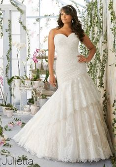 Plus Size Wedding Dress 3191 Asymmetrically Draped Chantilly Lace with Scalloped Edging on the Tiered Tulle Skirt