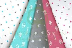 Gray, fuchsia & turquoise stars & crowns cotton fabrics / Zestaw gwiazdki i korony