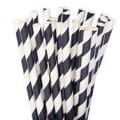 Black Polka Dot Straws - 7.75 Inch 25-Piece Pack