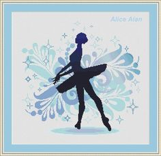 Cross Stitch Pattern Silhouette Ballerina fantasy vintage floral Counted Cross Stitch Pattern/Instant Download Epattern PDF File