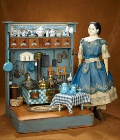 Bittersweet - October 2017 in Scottsdale, Arizona: 289 Century Wooden Toy Kitchen with Unique Stove and Accessories Antique Dollhouse, Dollhouse Dolls, Miniature Dolls, Dollhouse Miniatures, Wooden Toy Kitchen, Wooden Toys, Dora, Old Dolls, Tin Toys