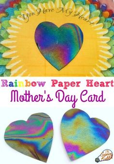 This Mother's Day surprise your mom with this free rainbow paper heart card! Perfect for a Mother's Day activity in the classroom or at home.