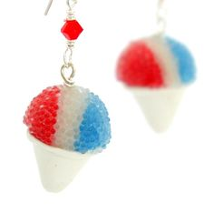 Snow cone earrings : red white blue. $24.00, via Etsy.