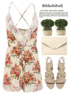 """""""Untitled #331"""" by m-zineta ❤ liked on Polyvore featuring Louis Vuitton, Uttermost, outfit, floral, romwe, beige and romper"""