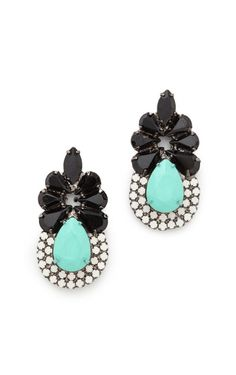 Crystal and stone earrings. Black, turquoise. On sale.