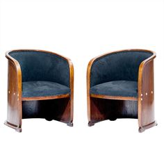 1stdibs | Josef Hoffmann, two Armchairs, so-called Barrel Chairs, Vienna Secession