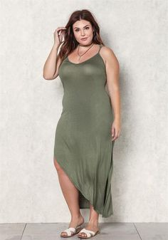 Plus Size Jersey Knit High Slit Midi Dress